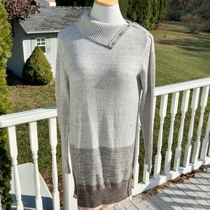 Convertible-Neck Tunic Sweater